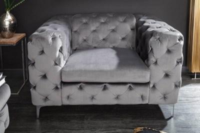 Luxus fotel Rococo szürke bársony