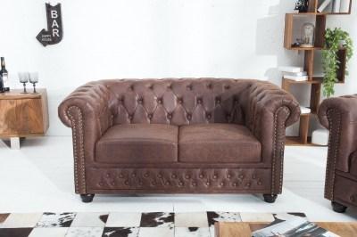 Luxus stílusos kettes ülőgarnitúra Chesterfield Vintage barna - ByCast bőr (osztott bőr)