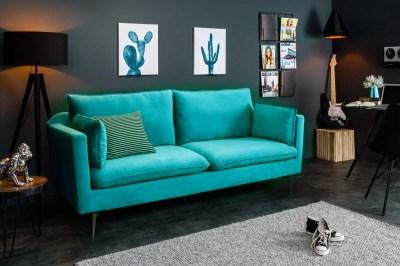 Stílusos hármas ülőgarnitúra Lena / 210 cm - kék-zöld bársony