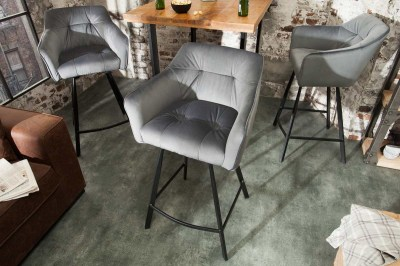 Stílusos bár szék Giuliana, ezüst bársony