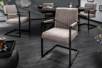 Szánkótalpas szék Boss kéztámlával, szürkés barna taupe