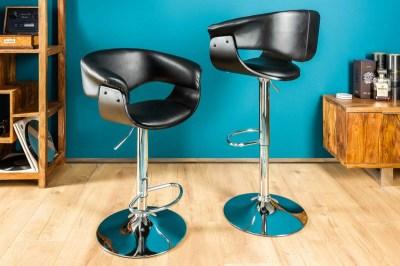 Stílusos bár szék Dane, fekete-ezüst