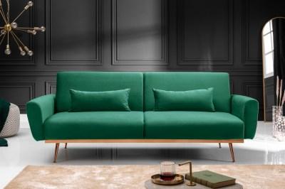 Ágyazható ülőgarnitúra Blaine 208 cm smaragdzöld bársony