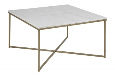 Modern dohányzóasztal Agostino fehér / halvány sárgaréz