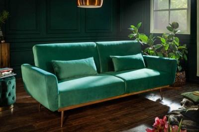 Nyitható ülőgarnitúra Blaine 208 cm smaragdzöld bársony