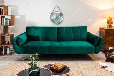 Nyitható ülőgarnitúra Amiyah 215 cm smaragdzöld bársony