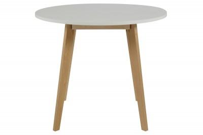 Kerek étkezőasztal Niecy 90 cm fehér lakkozott