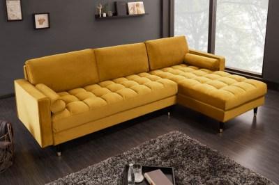 Sarok ülőgarnitúra Adan II 260 cm mustársárga bársony