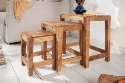 Oldalsó asztal szett 3 db Harlow 45 cm natúr mangófa