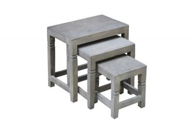 Oldalsó asztal szett 3 db Harlow 45 cm szürke akáciafa