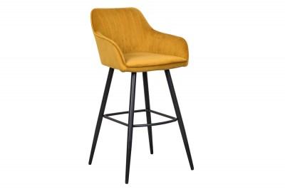 Stílusos bár szék Esmeralda mustársárga bársony