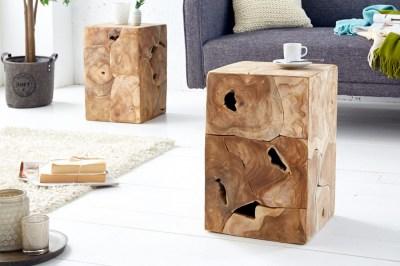 Stílusos oldalsó asztal Junk 30 cm tíkfa