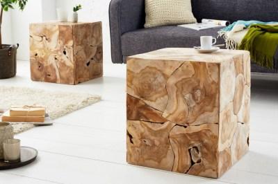 Stílusos oldalsó asztal Junk 40 cm tíkfa