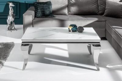 Stílusos dohányzóasztal Rococo 100 cm ezüst márvány