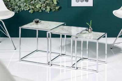 Stílusos dohányzóasztal szett Factor 3db üveg márvány