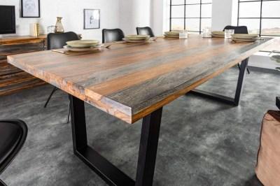 Stílusos étkező asztal Flame 200 cm szürke-barna sheesham