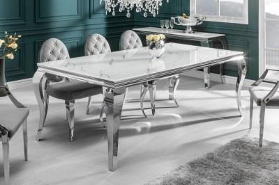 Stílusos étkezőasztal Rococo 180 cm ezüst márvány