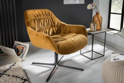 Stílusos fotel Bently mustársárga bársony
