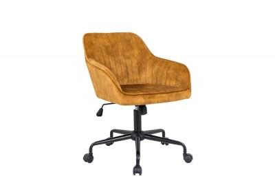 Stílusos irodai szék Esmeralda mustársárga bársony