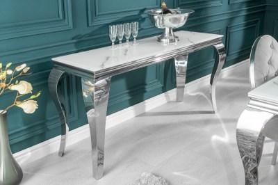 Stílusos konzolasztal Rococo 145 cm ezüst márvány