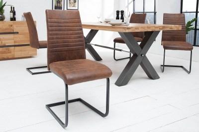 Stílusos szánkótalpas szék Douglas, antik barna