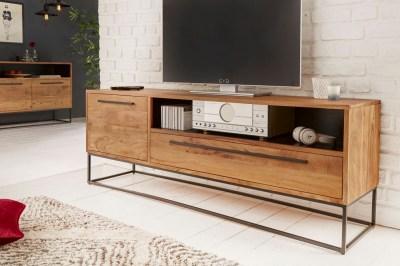 Stílusos TV asztal Malakai 165 cm natúrszínű akáciafa