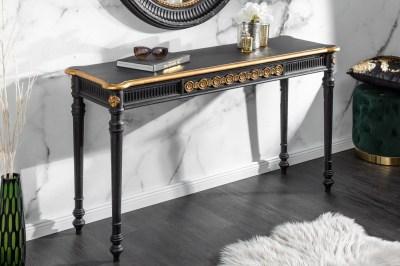Stílusos fésülködő asztal Kathleen 125 cm fekete - arany