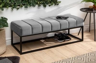 Stílusos ülőpad Halle 110 cm bársony - ezüstszürke