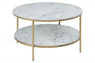 Stílusos dohányzóasztal Agostino fehér / krómozott arany