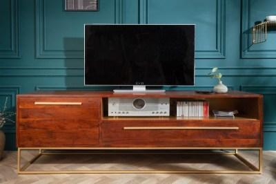 Stílusos TV asztal Malakai 165 cm natúrszínű akáciafa - arany