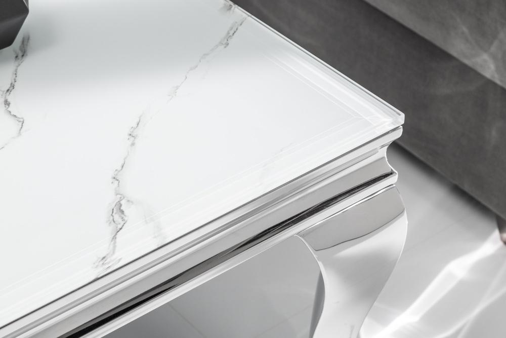 Stílusos dohányzóasztal Rococo 100 cm ezüst márvány - raktáron SK 1db